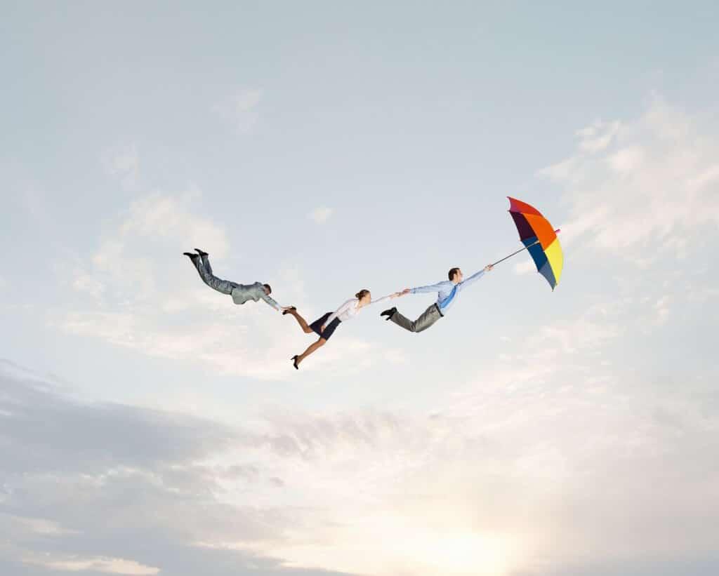 Freunde Suche Freunde fliegen durch die Luft